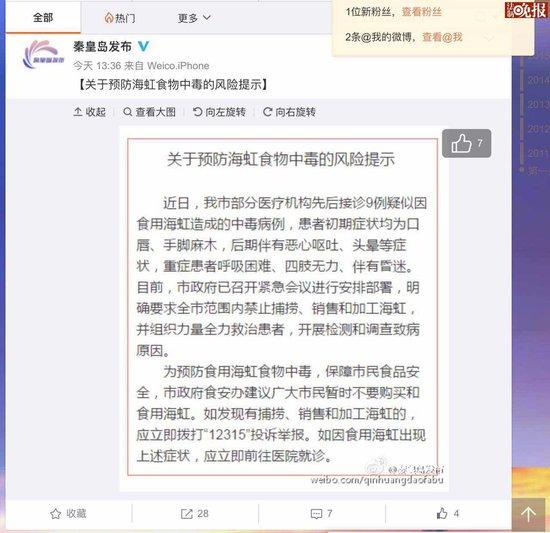 秦皇岛市通报:多人食用海虹中毒 近期勿再食用