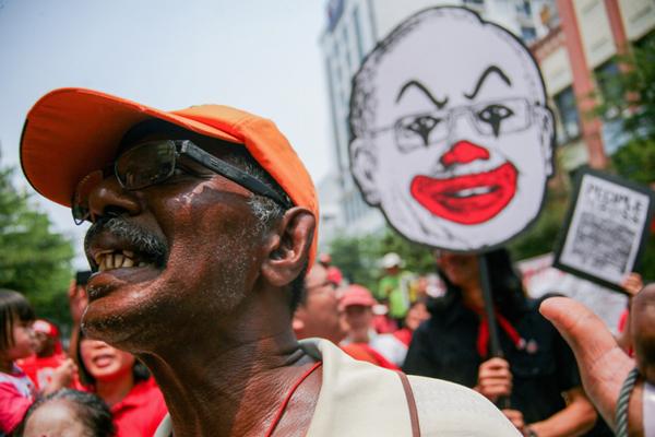 马来西亚民众劳动节示威要求提高工资