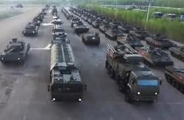 航拍俄军钢铁洪流进城准备参加阅兵