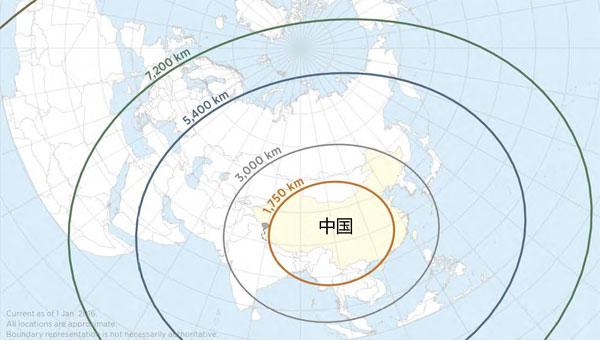 美称中国导弹射程覆盖多半地球