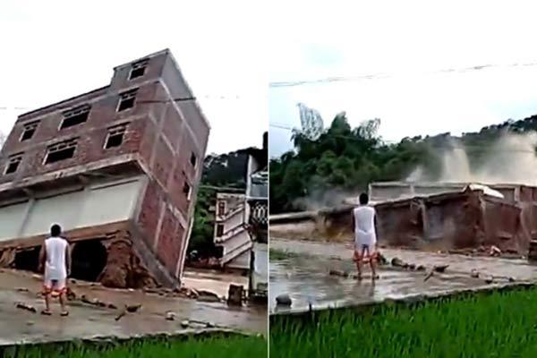 广西一三层半楼房暴雨后轰然倒塌 围观乡民看得乐乎