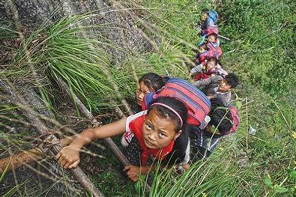 四川悬崖村:孩子上学爬藤梯 多名村民摔死