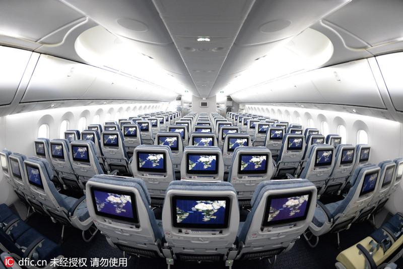 国航波音787-9飞机宽体机舱内部曝光