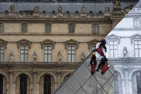 """艺术家玩错觉贴纸 """"变没""""卢浮宫玻璃金字塔"""
