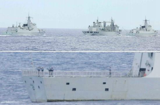 日本舰艇抵近侦察中国神盾舰