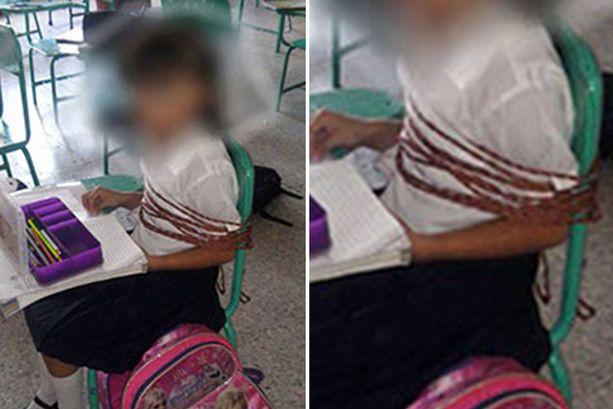 """墨西哥小学生被""""捆绑""""上课 网友:看着都累"""