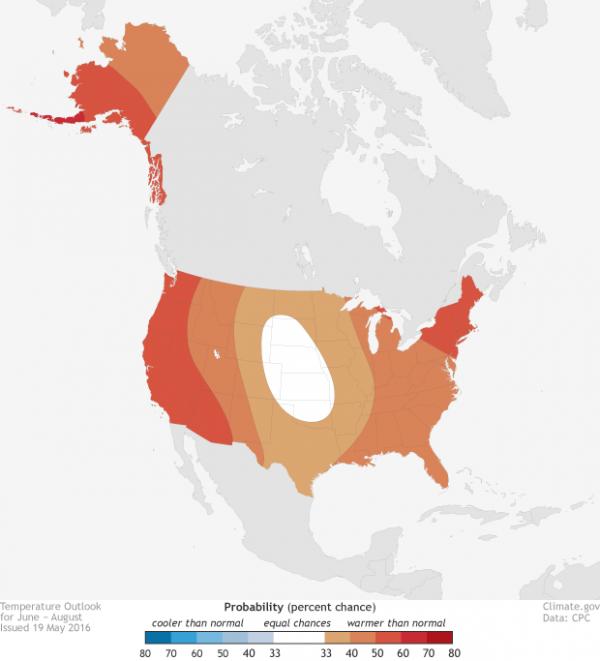 noaa2016夏季天气展望:美国将迎来炎热夏季
