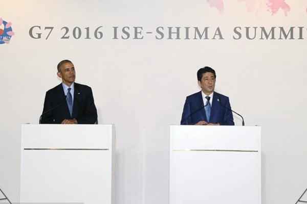 美国总统奥巴马抵达日本 与首相安倍晋三举行会谈
