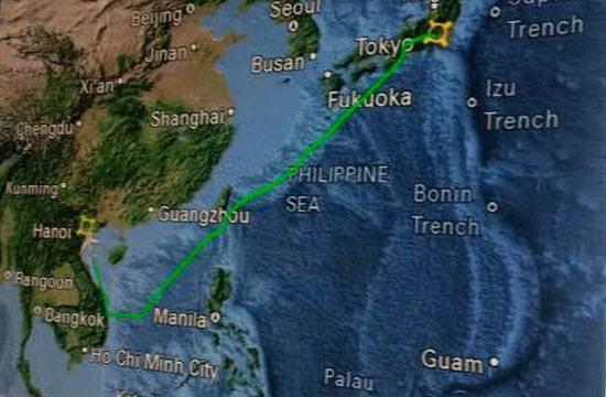 美国空军一号绕开南海空域飞行