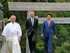 安倍陪同G7首脑一同参观伊势神宫
