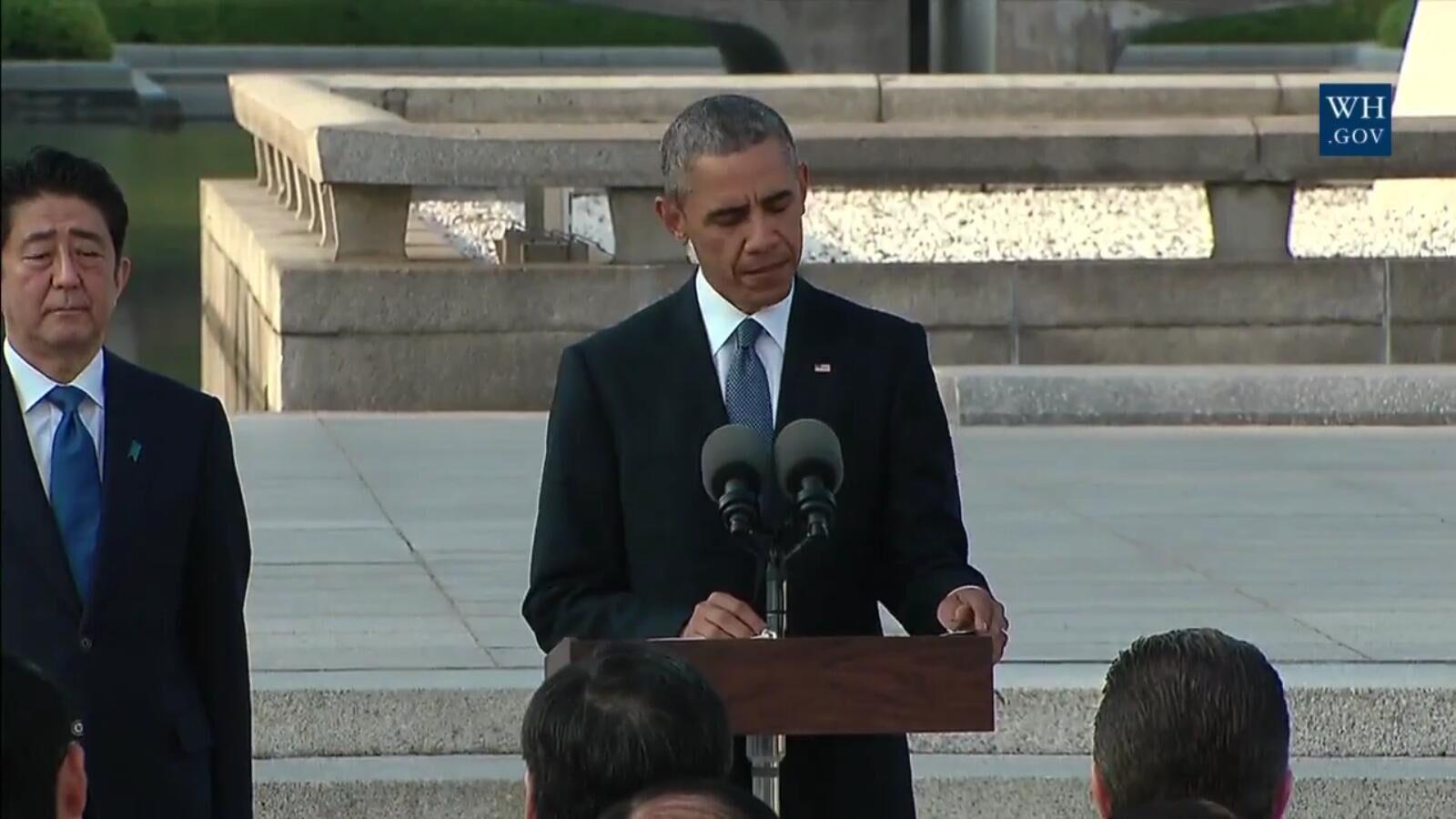 奥巴马访问广岛广岛和平公园 呼吁减少全球核武库存量