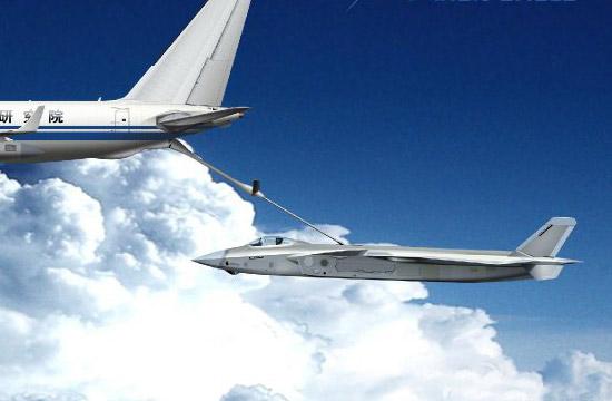 歼20战机空中硬管加油模拟画面