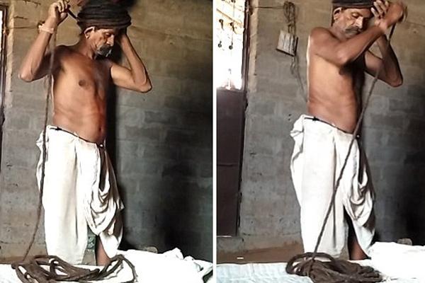 印男子发长近19米 洗头发要花3小时