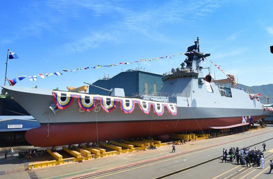 韩国最新型隐身护卫舰下水