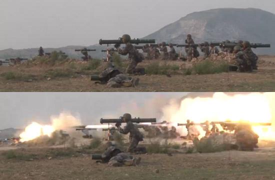 解放军120毫米火箭筒集群射击