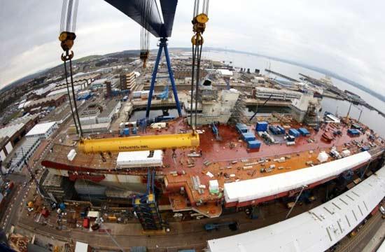英国船厂用中国龙门吊建造航母