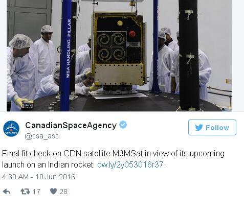加拿大微卫星升空 主要用于监视海上船只