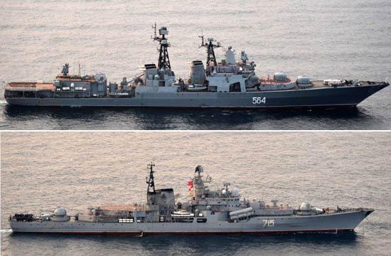 俄十几艘舰艇同时现身日本南北