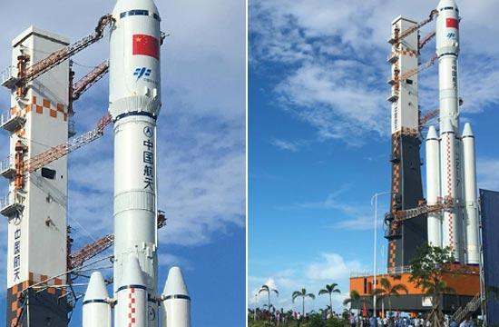 长征七号运载火箭转运至发射区