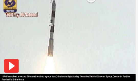 印度打破历史记录成功发射1箭20星