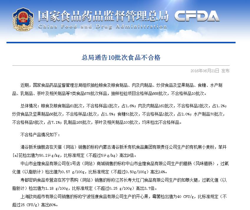 食药总局通告不合格食品 沃尔玛售鱿鱼丝大肠杆菌超标79倍