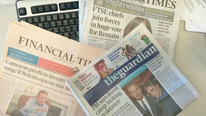退欧公投前最后一版 英国报刊头版头条狂抓眼球