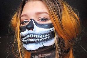 英19岁女生模仿电影惊悚妆容让人毛骨悚然