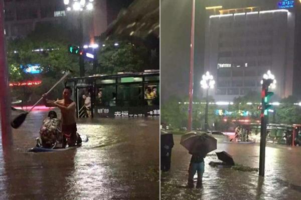 """四川宜宾暴雨 """"划船哥""""救了一公交车的人"""