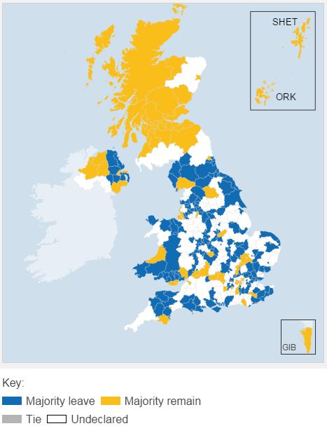 三分之二投票区开票:51%支持脱欧,49%支持留欧