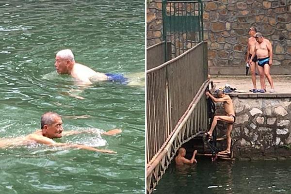 北京市民饮用水源京密引水渠变身野泳圣地