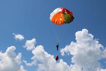 南部战区女飞行员海上跳伞演习