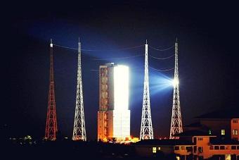 长征七号火箭发射场夜景曝光