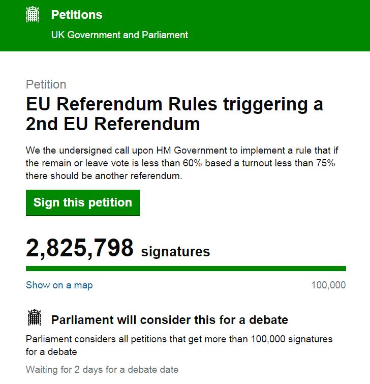 """英""""再次公投""""请愿人数已超280万 专家:重新公投不会轻易进行"""