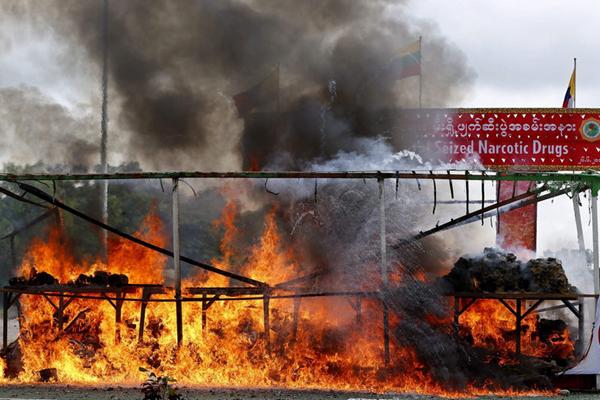 缅甸国际禁毒日当天销毁价值5631万美元毒品