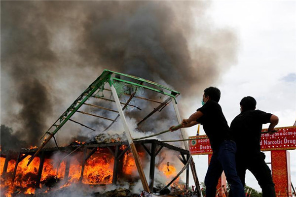 缅甸销毁5000万美元毒品迎国际禁毒日
