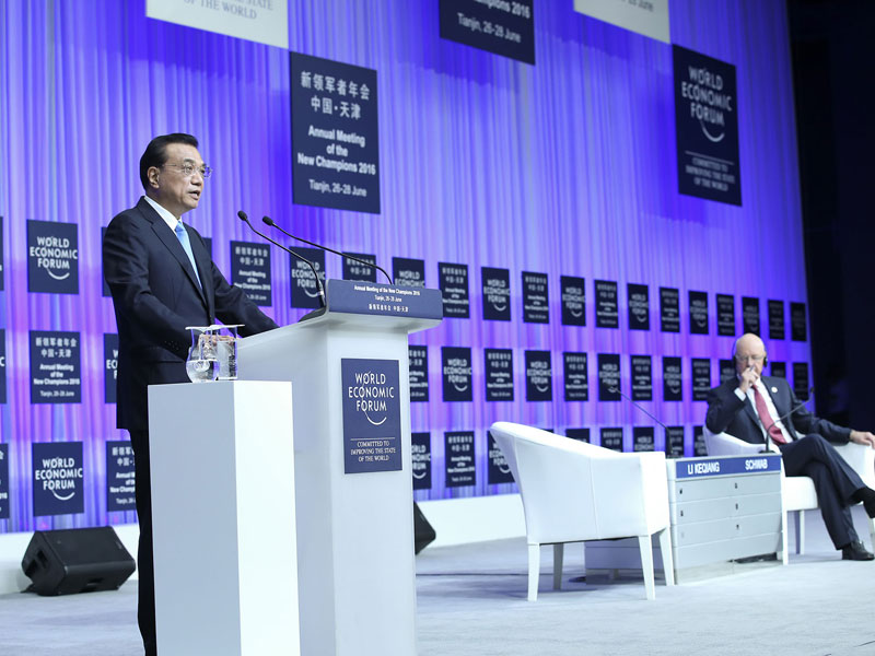李克强出席2016年夏季达沃斯论坛开幕式并发表特别致辞