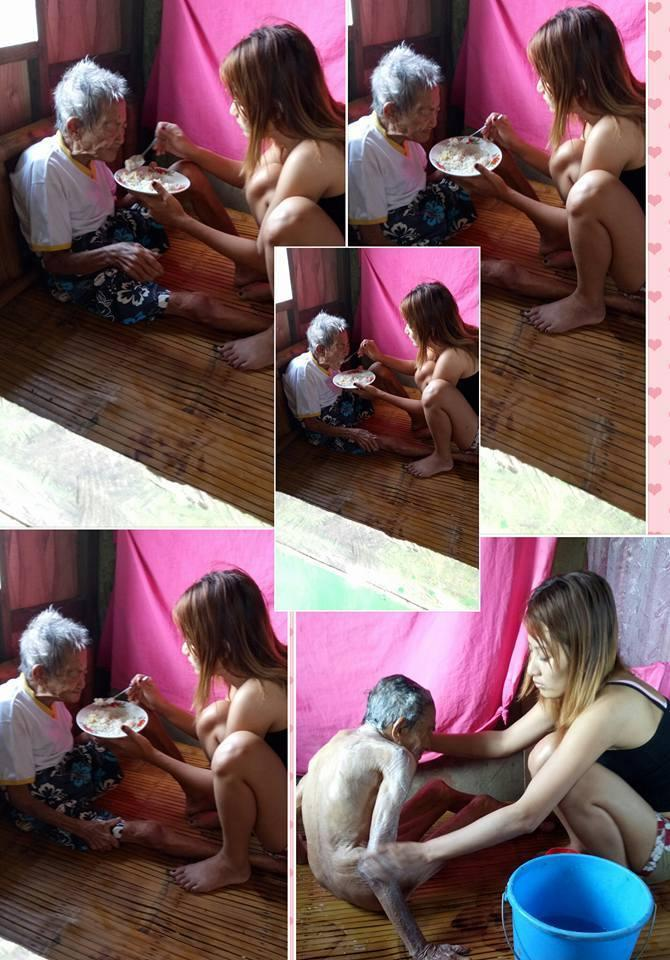 菲女孩照顾98岁奶奶不离不弃 网上晒照引泪崩