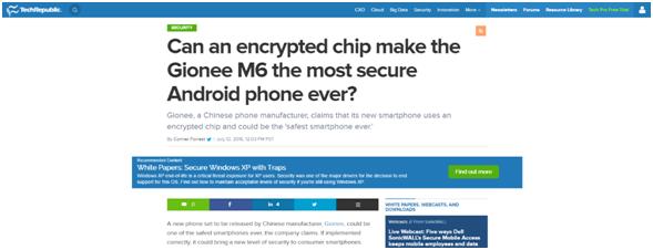 """外媒:金立号称""""最安全""""的安卓手机M6即将发布"""