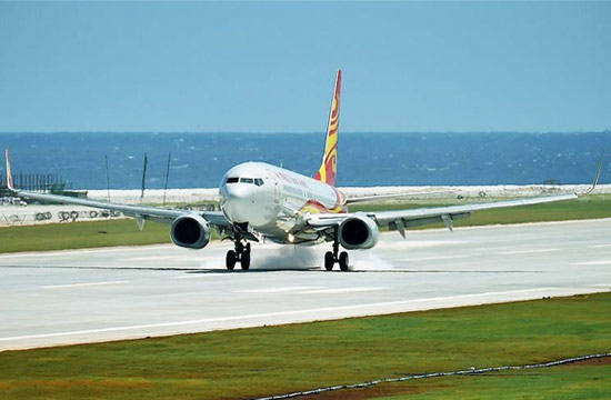 中国飞机在渚碧礁美济礁着陆