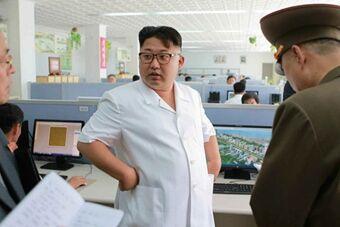 朝鲜领导人金正恩视察白头山建筑研究院