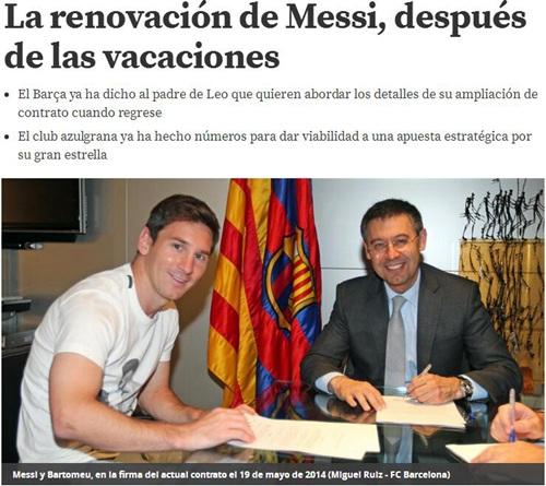 不走了!曝梅西将续约至2021年 或终老巴塞罗那