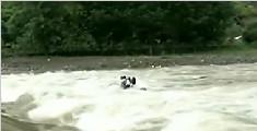 货车冲入河中消防紧急救援