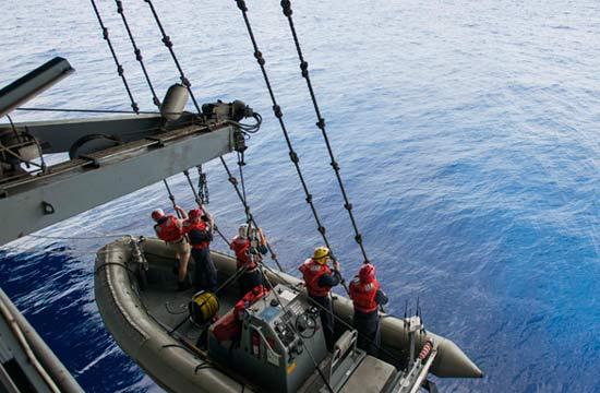 美航母在南海收放小艇观察周边