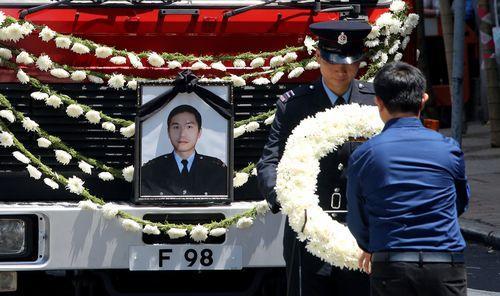 香港为火灾殉职消防员许志杰举行最高荣誉丧礼