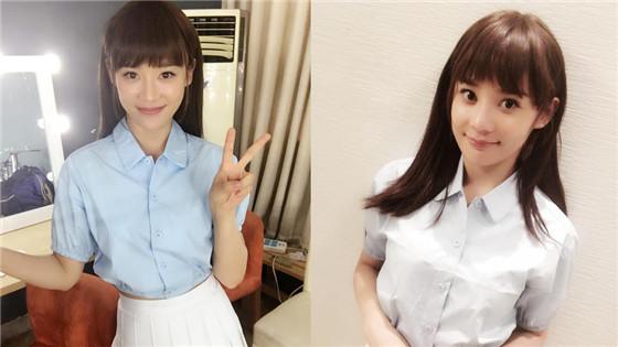 袁姗姗梳刘海穿制服 甜美清纯似学生妹