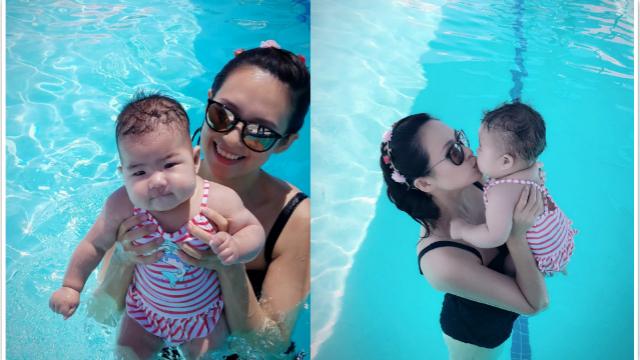 章子怡晒与女儿游泳照