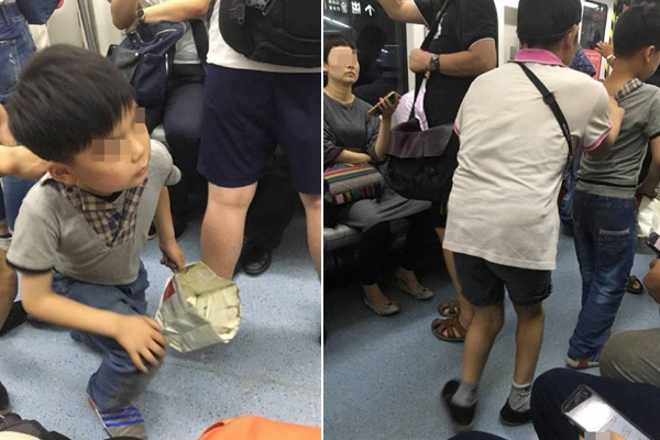 北京地铁:一男孩被残疾男拖住 跪地乞讨