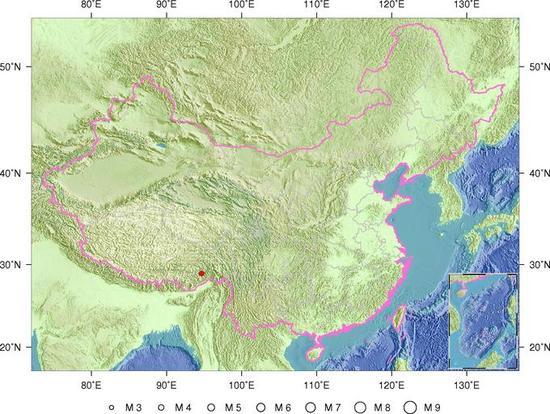 西藏林芝市墨脱县发生3.7级地震