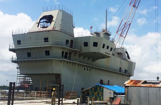 印度国产航母舰岛仍是空壳子