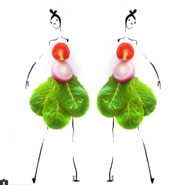 水果蔬菜服装设计图-设计师巧妙结合果蔬与素描打造时装
